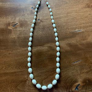 Vintage MONET Off White Acrylic Beaded Necklace